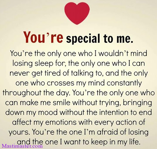 You Are Special To Me Love Quotes For Whatsapp Masti Master